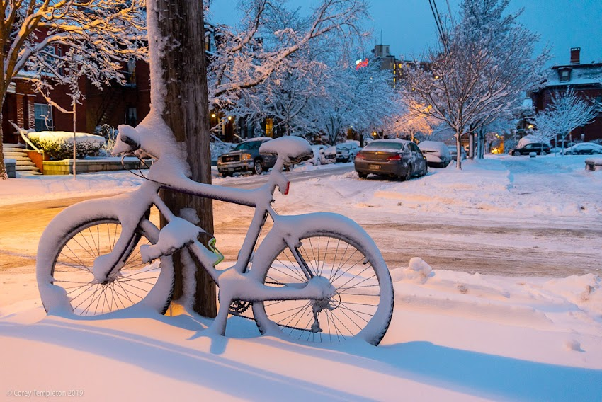 Portland, Maine USA photo by Corey Templeton. A Thursday throwback to a snow-covered bicycle on Deering Street. February 2016.