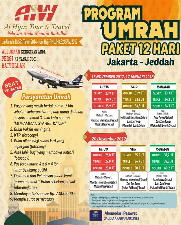 Paket Umroh 2017-2018 Travel Alhijaz Indowisata