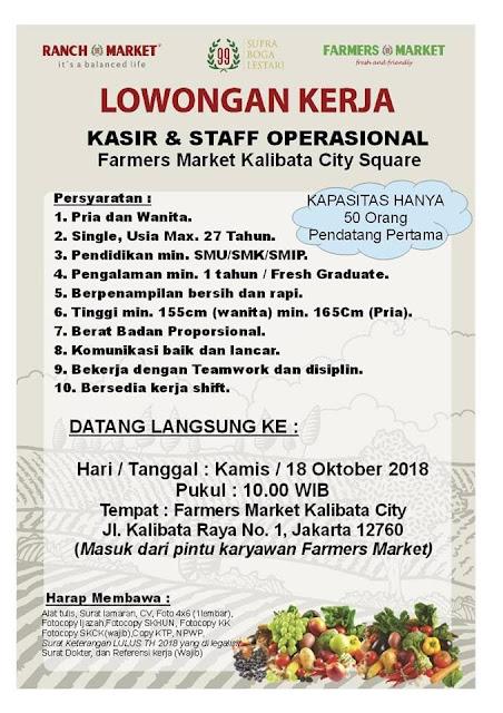 Lowongan Kerja Kasir dan Staff operasional Farmers Market