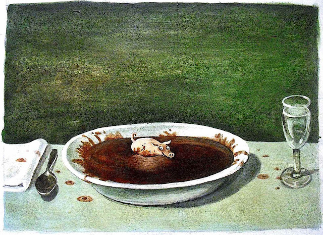 Michael Sowa, a pig wallowing in a giant bowl of soup