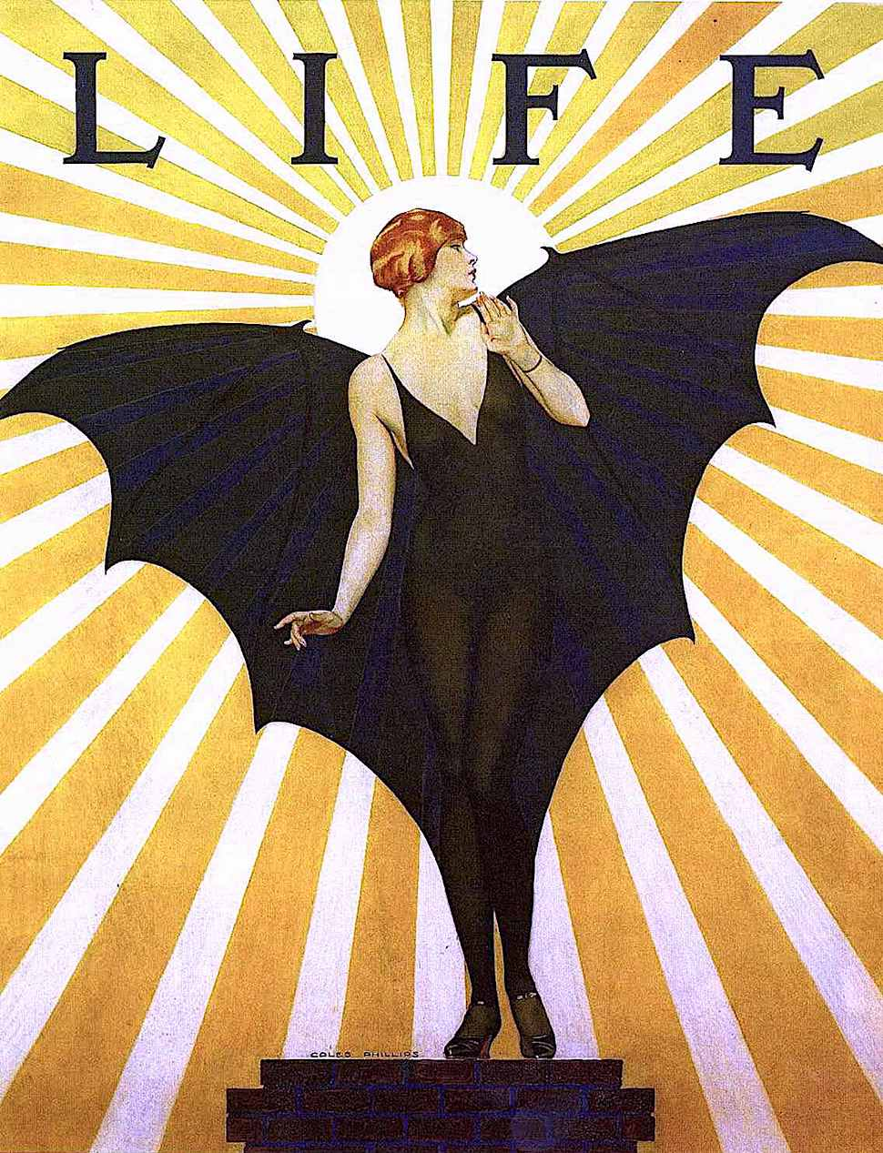 an early Coles Phillips illustration for Life Magazine showing a woman with bat wings surprised by the rising sun, radiating