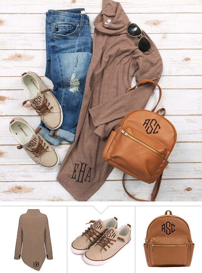 monogram top, backpack, and shoes outfit