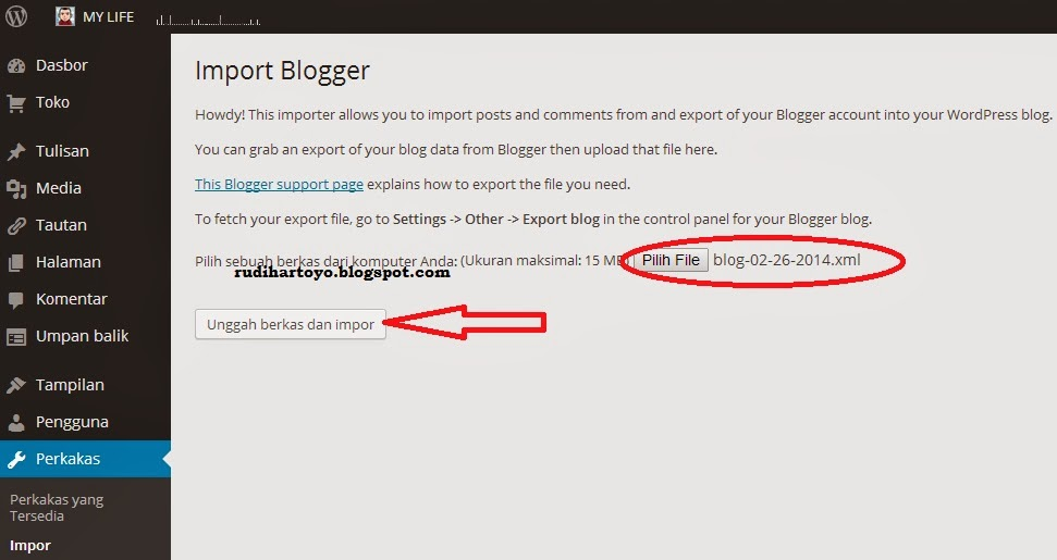 import artikel blogspot ke wordpress