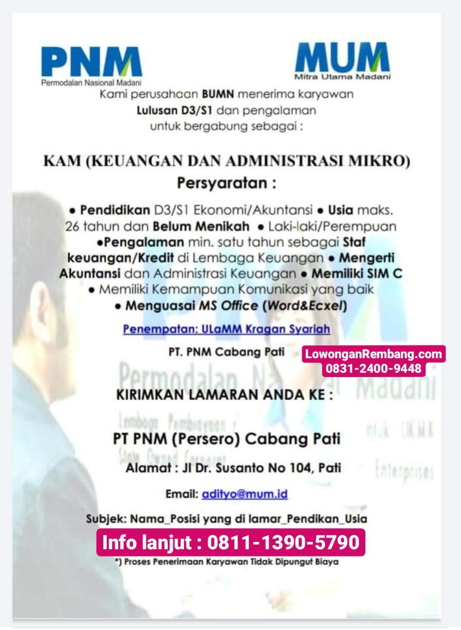 Lowongan Kerja Keuangan Administrasi Mikro ULaMM Unit Kragan Syariah Rembang