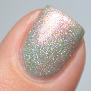 spearmint nail polish with aurora shimmer