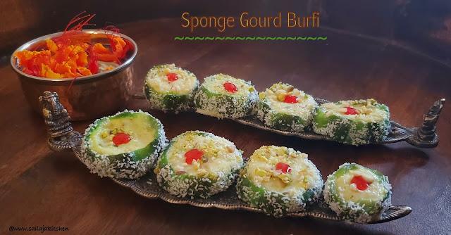 images of Sponge Gourd Burfi / Luffa Burfi / Nethi Beerakaya Burfi / Easy Loofah Burfi