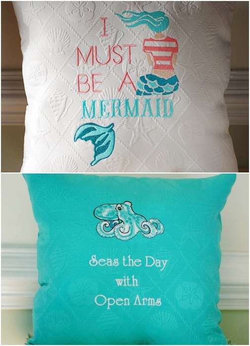 Whimsical beach pillows embroidered with quotes and sayings