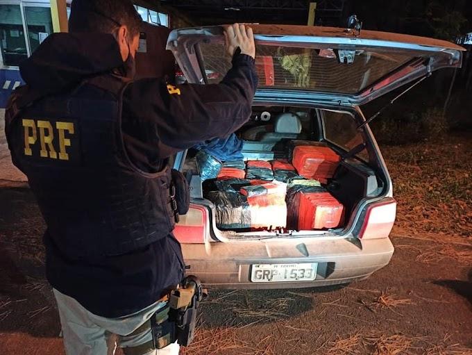 Laranjeiras: PRF apreende 163 kg de maconha na BR 277