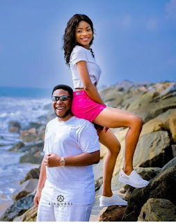 See How This Lady Sits On His Fiancée's Shoulder In Colour Pre-wedding Pictures