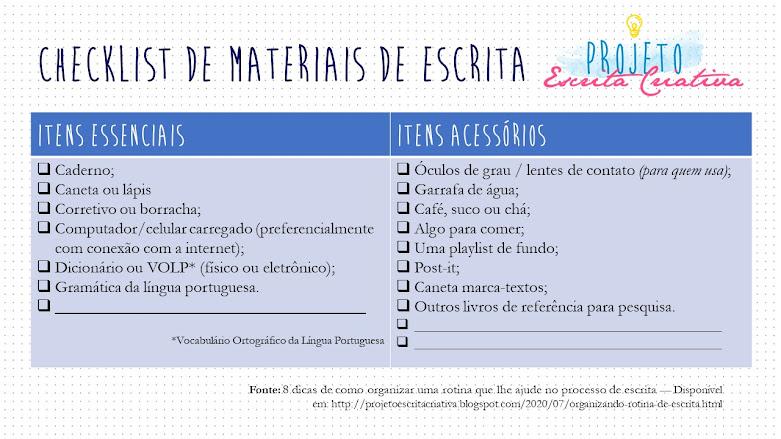 Checklist com materiais para elaboração de escrita criativa.
