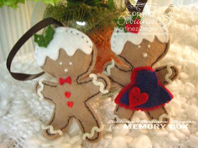 gingerbread ornaments in felt