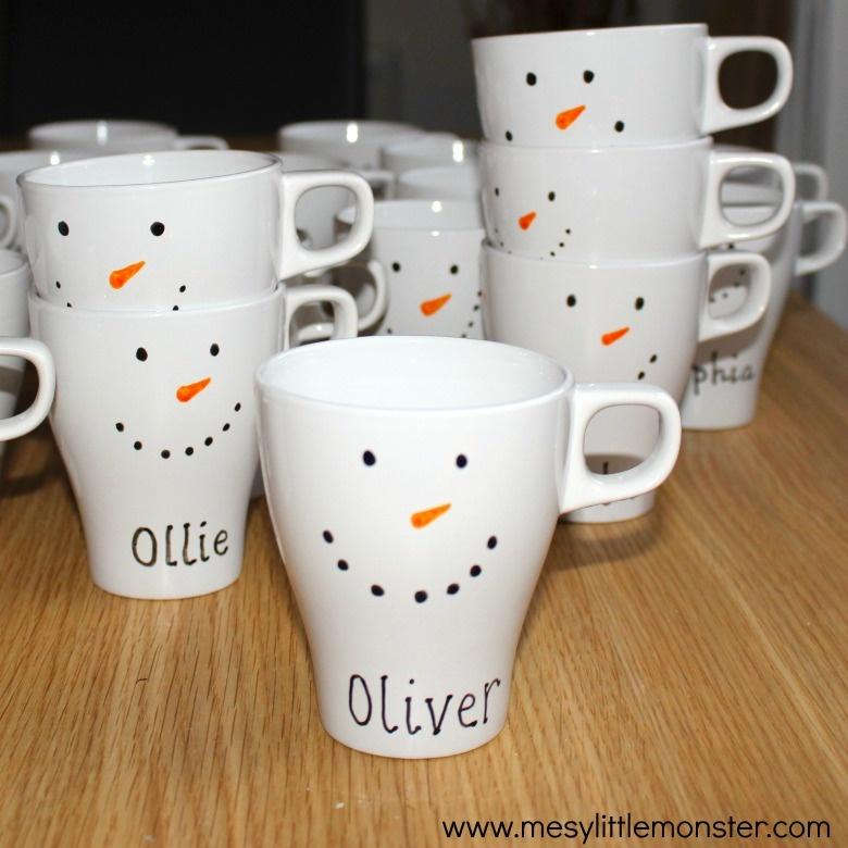 diy snowman mugs snow craft for kids
