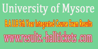 University of Mysore B.A LLB 5th Year Integrated Course Exam Results