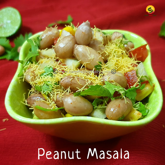 A delicious warm peanut salad or peanut masala as it is called colloquially  , this salad is very filling and healthy too . They can be served as one of the starters or appetisers during any parties . KADLEKAAI MASALA , kadlekaai parishe , peanut masal , peanut salad , moongfali masala , warm salad , party apetisers , vegan , gluten free