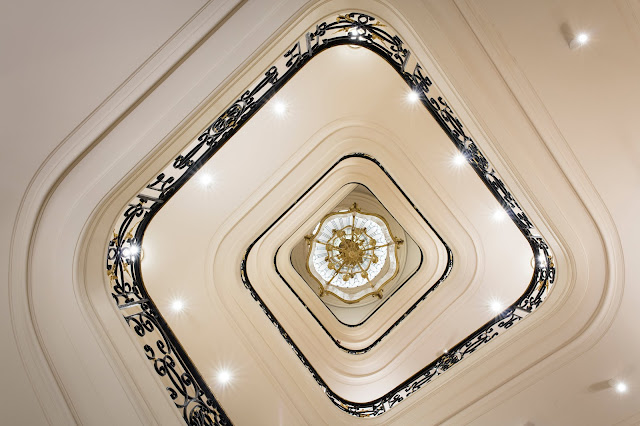 Architectural and sculptural staircase view Ritz Paris