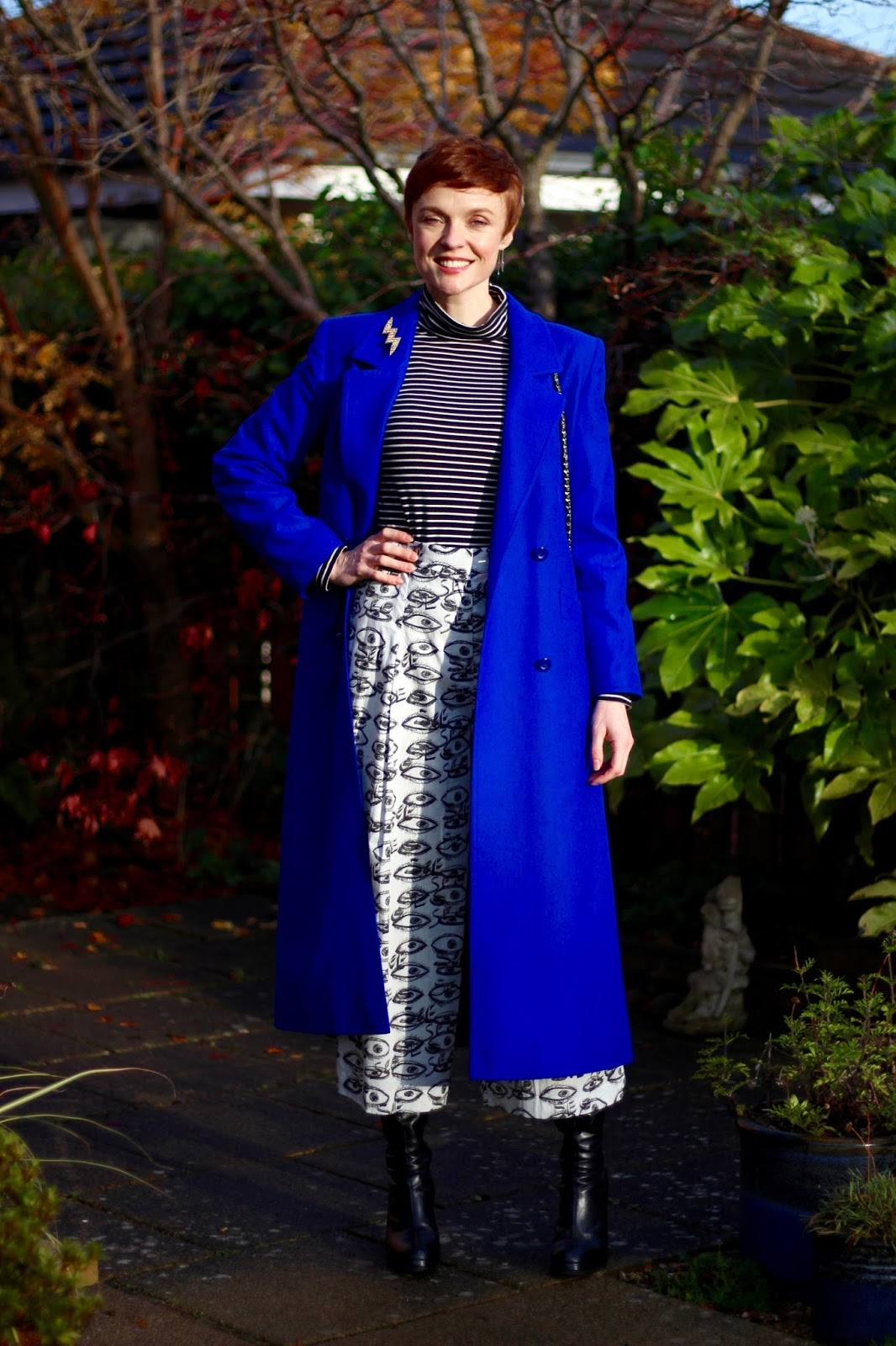 Culottes in Winter | Black, White & Cobalt | Fake Fabulous