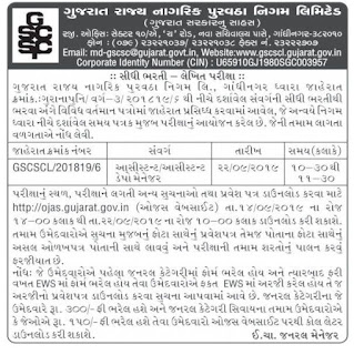 The Gujarat State Civil Supplies Corporation Ltd.(GSCSCL) has published Assistant Depot Manager (Advt.No.GSCSCL2018196) ExaminationCall Letter Notification 2019