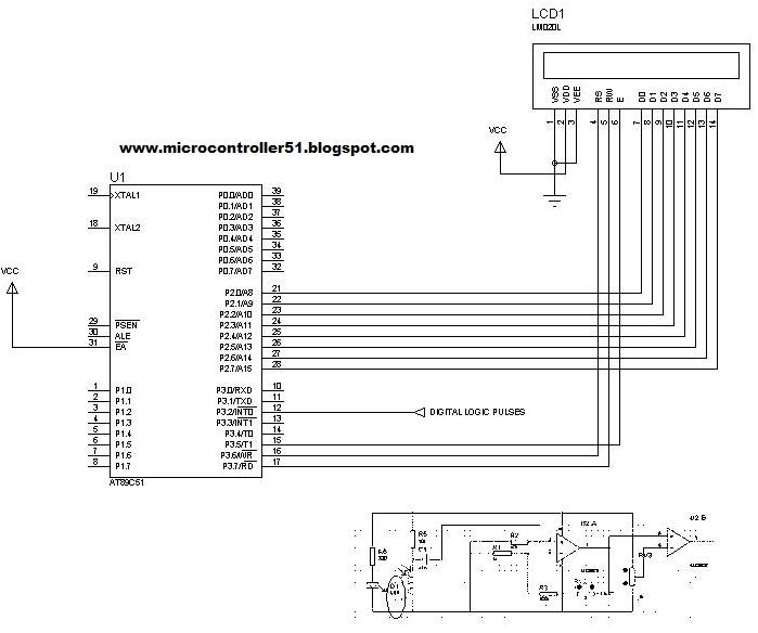 Schematic Heart rate (beats) Meter with Microcontroller AT89c51