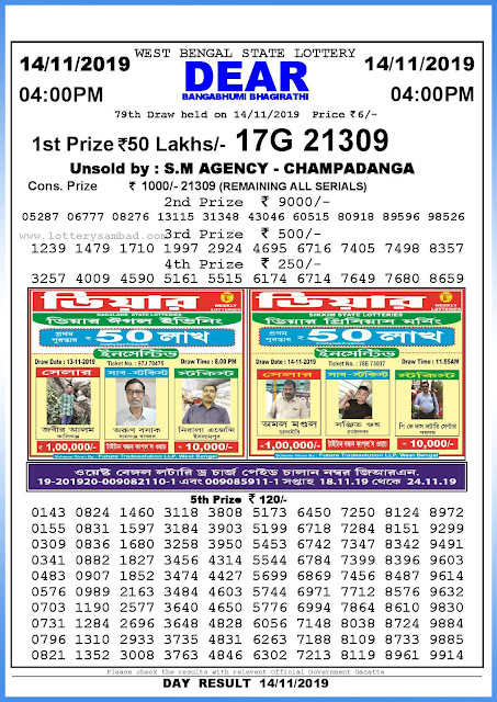 Lottery Sambad 14-11-2019 West Bengal State Lottery Result 04.00 PM-sambadlottery.org