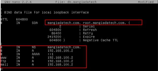 konfigurasi data dns debian