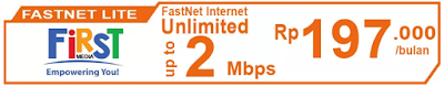 Paket Internet First Media FasNet Lite (Promo)
