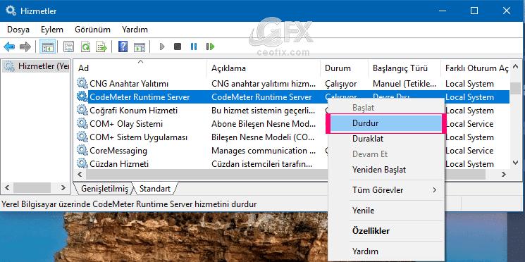 CodeMeter Runtime Server servisini durdurma- ceofix.com