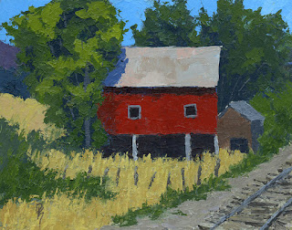 art painting rural landsape barn farm