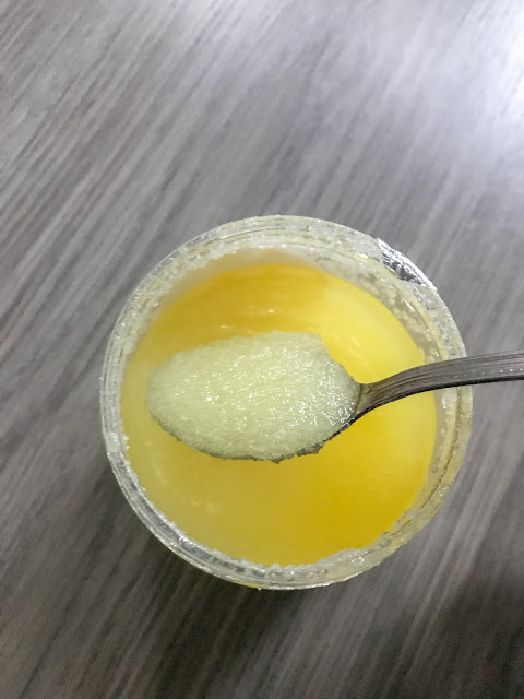 Valentte body scrub close up of scrub inside jar
