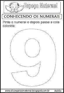 Numeral nove para colorir