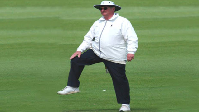 What does a cricket umpire tap to signal a player's leg bye?