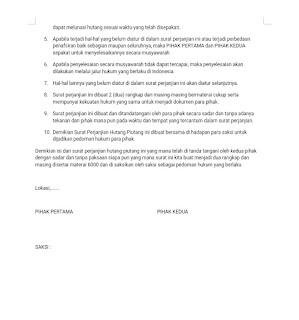 Surat perjanjian hutang-piutang