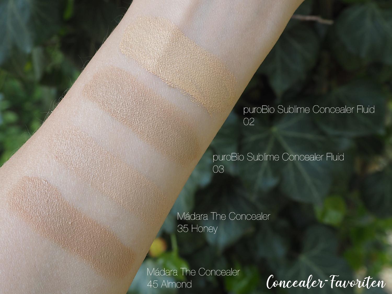 Concealer-Swatches verblendet puroBio 02, 03 und Mádara 35 Honey, 45 Almond