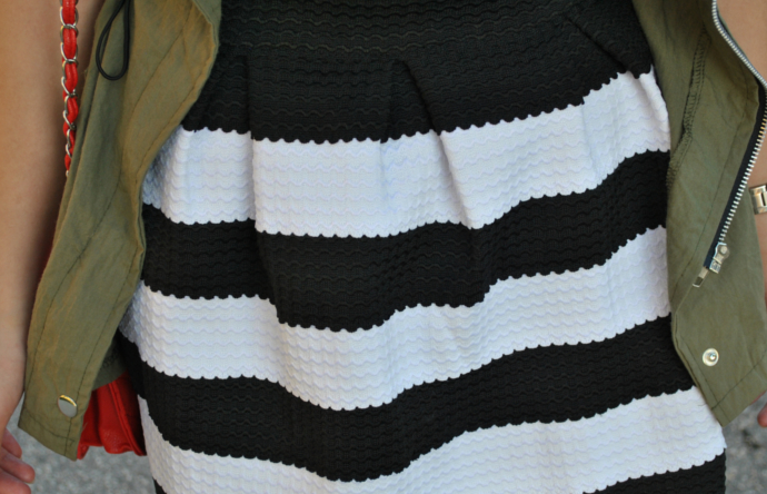 Oasap Long Sleeve High Low Shirt, Oasap High Waist Striped Skirt, Arafeel Jacket, stripes, striped skirt, skater skirt