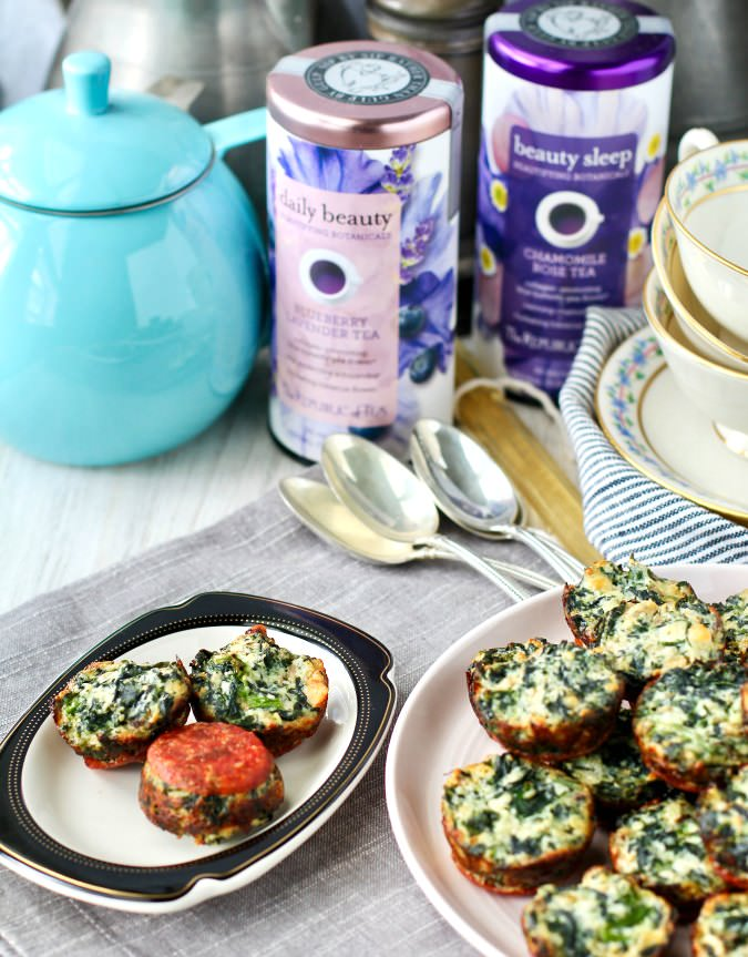 Mini Spinach Frittatas with pepperoni