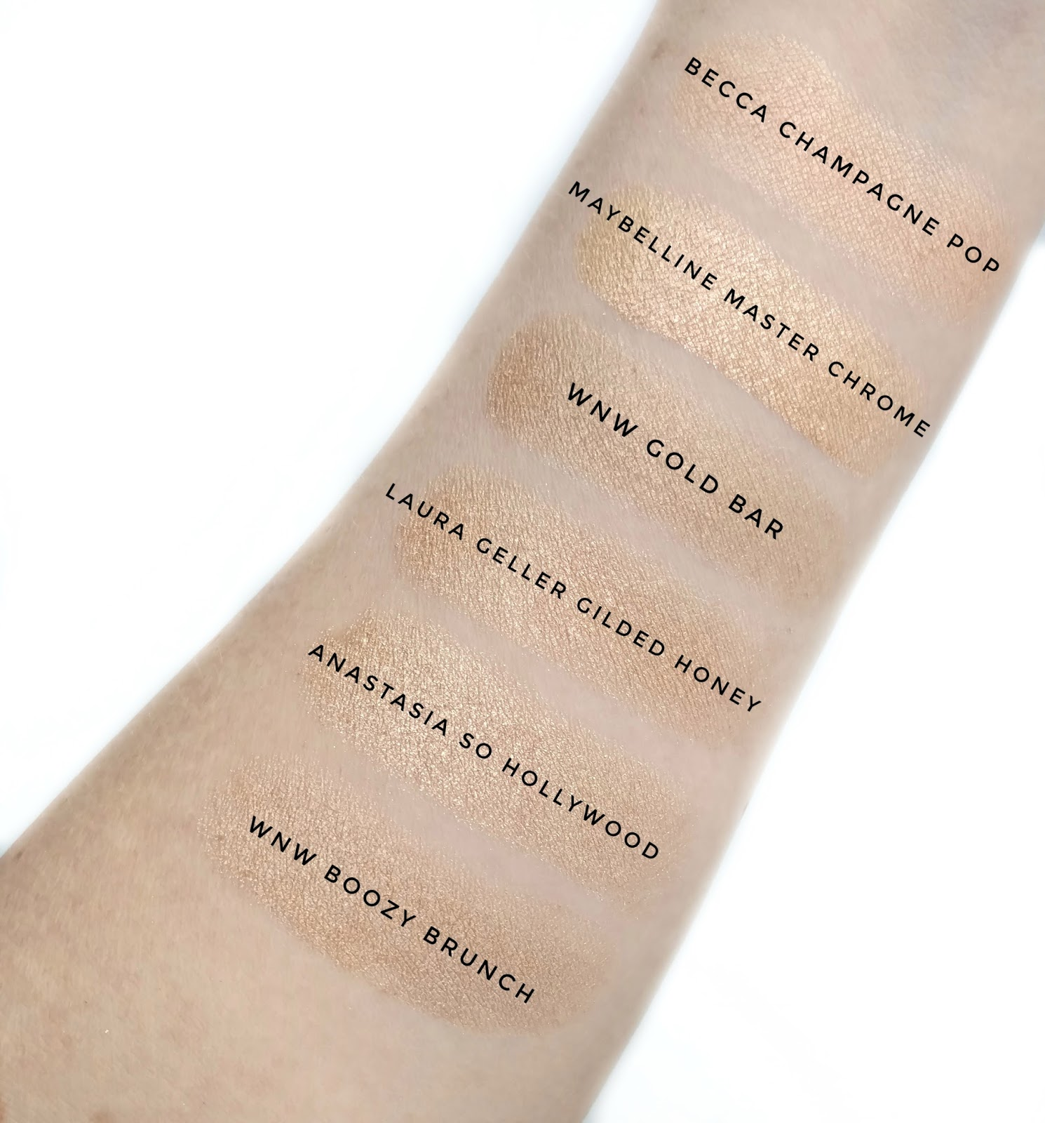 gold highlighter swatches