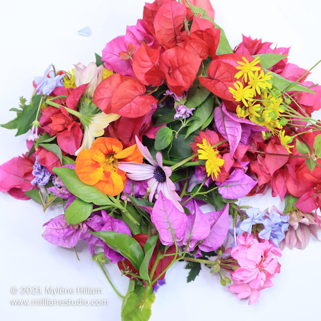 colourful assortment of fresh-picked flowers