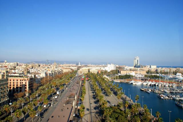 Vista dalla ruota panoramica del Port Vell di Barcellona