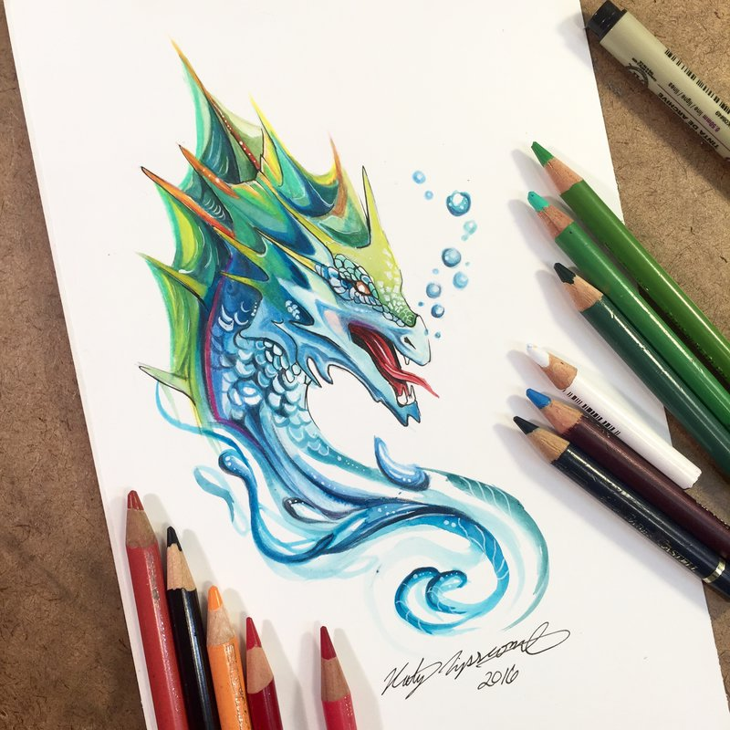 16-Sea-Serpent-Katy-Lipscomb-Colourful-Drawings-and-Illustrations-www-designstack-co