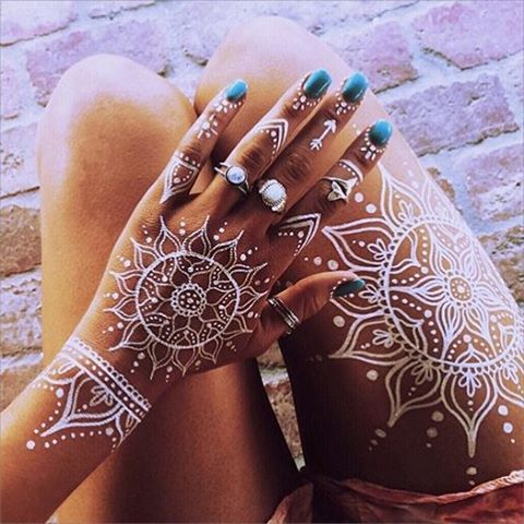 Awesome White Henna Tattoos Designs