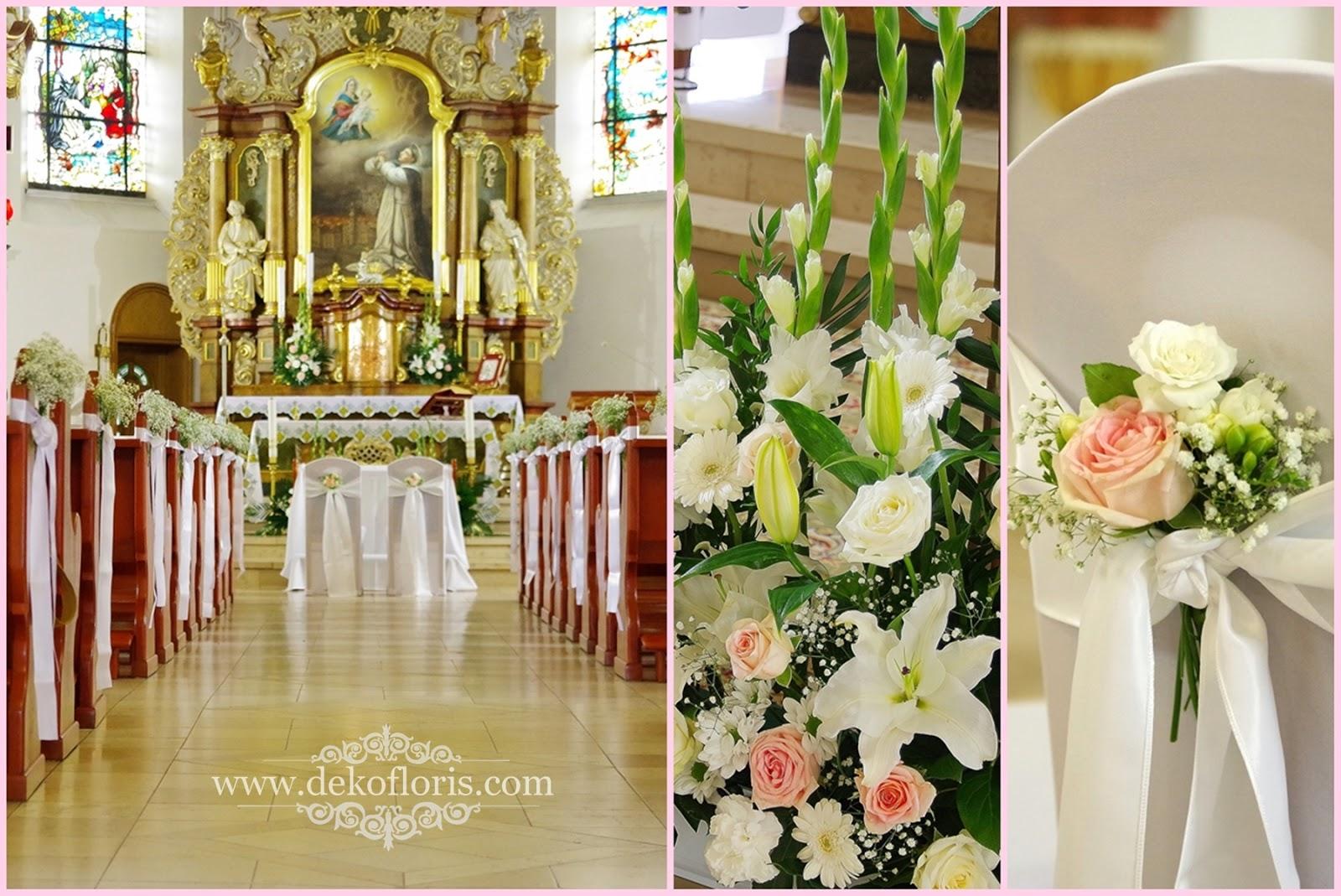 Ślubna dekoracja kościoła w pudrowym różu - Kamień Śląski