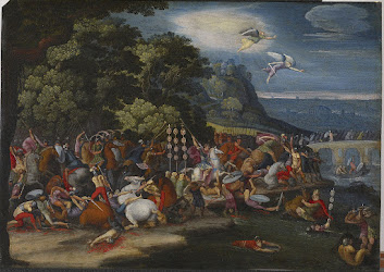 A 17th-century Flemish painting in the style of Italian artist Giulio Romano imagines a battle scene