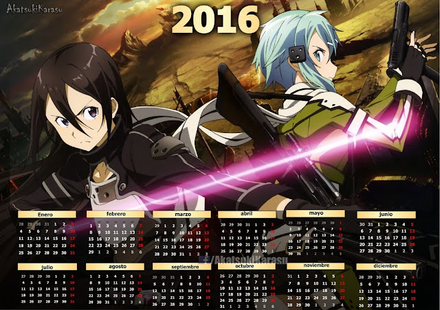 Calendar Sword Art : Animé imágenes by akatsuki karasu calendarios sword