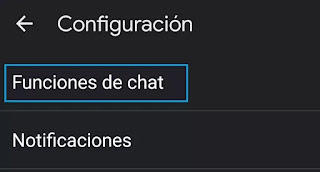 seleccionar funciones de chat