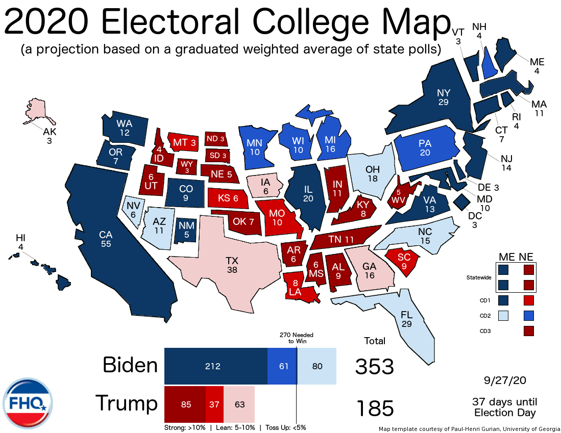 Frontloading Hq The Electoral College Map 9 27 20