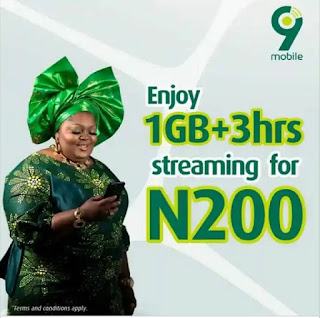 9Mobile 1GB + 3 Hours Streaming