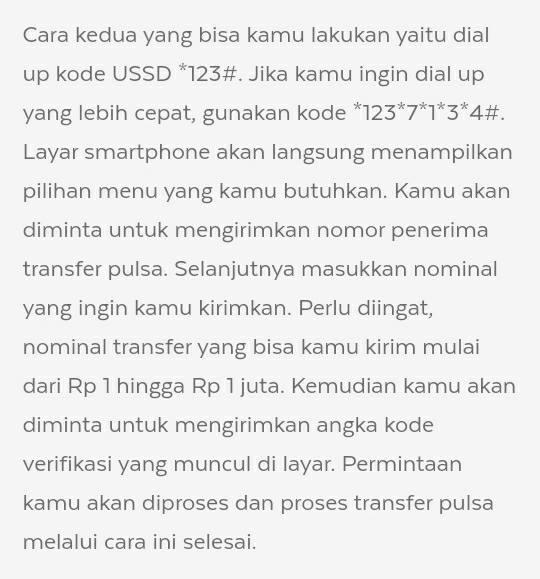 Transfer Pulsa AXIS via Dial Up USSD *123#