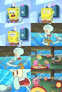 Polosan meme spongebob dan patrick 73 - spongebob menelepon squidward di krusty krab