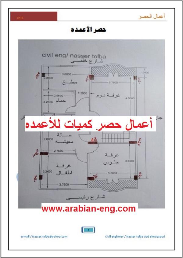 أعمال حصر كميات للأعمده للمهندس ناصر طلبه | المهندس العربي