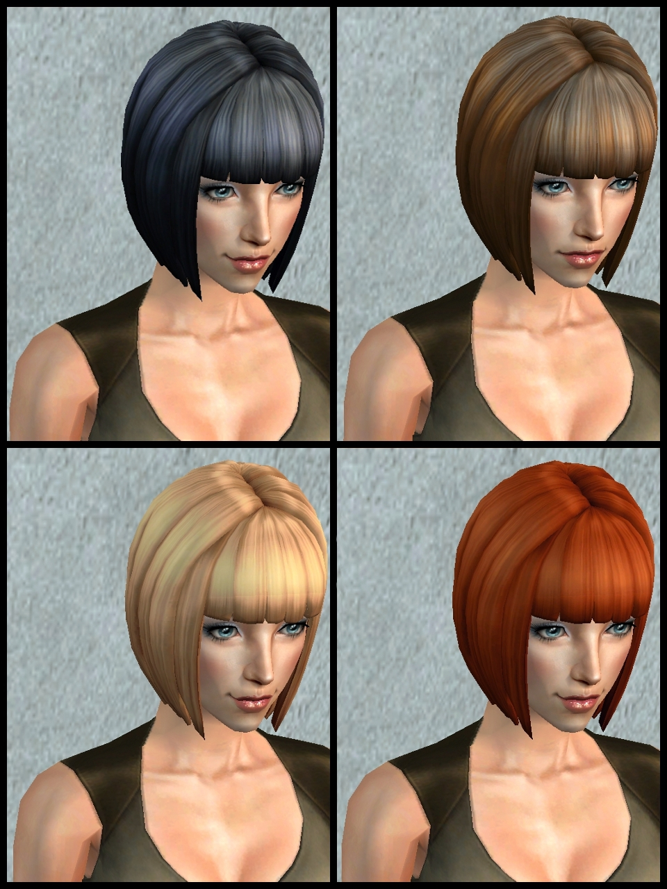 Theninthwavesims The Sims 2 The Sims 4 Bg Short Bob For The Sims 2