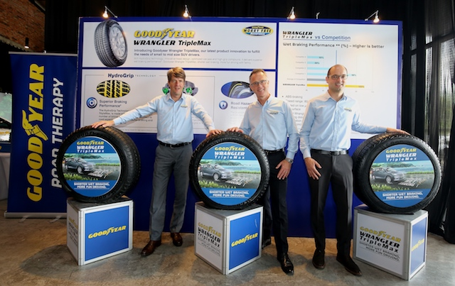 Ben Hoge, Managing Director, Goodyear Malaysia Berhad, Andy Cooper, Managing Director of Goodyear ASEAN; Ronnie Dhaeze, Construction Development Engineer, Goodyear Innovation Centre, Luxembourg